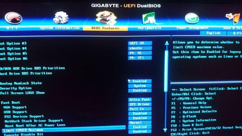 Interfaz de la UEFI de Gigabyte