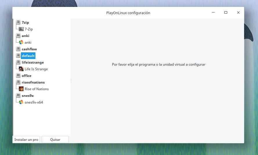 Menú principal para configurar PlayonLinux