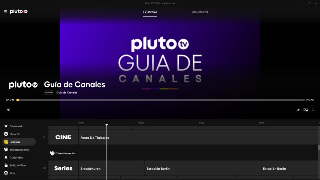 Guía de canales de PlutoTV