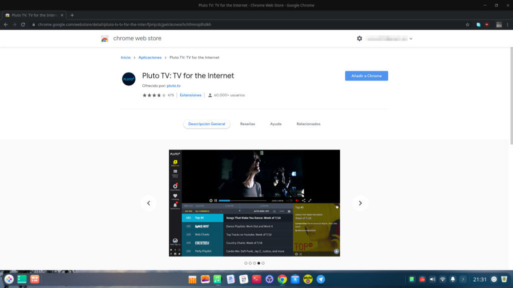 Pluto TV - Extensión para Google Chrome