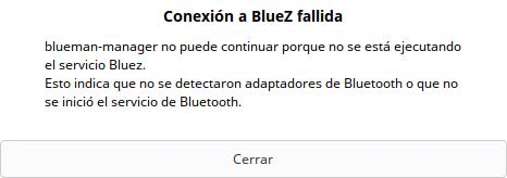 Falla de conexión en BlueZ, GUI de Blueman
