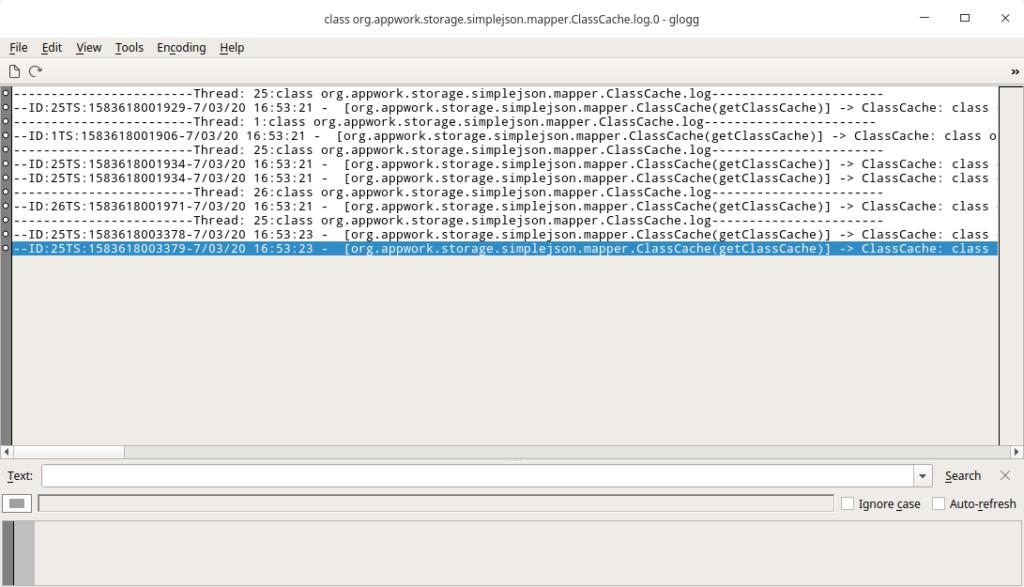 Interfaz de glogg, visor de registros de sistema