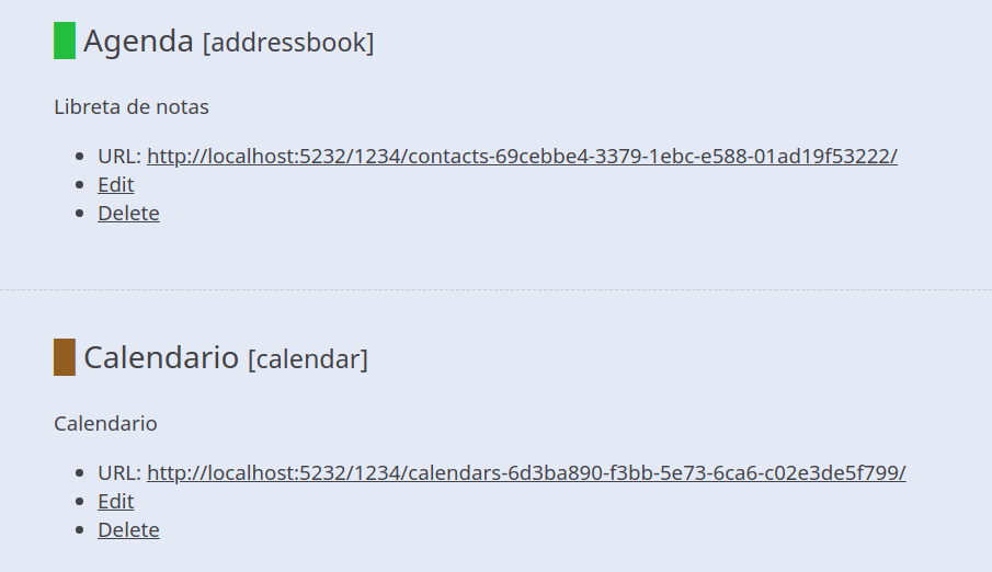 Agenda, URL, editar y eliminar. Calendario, URL, editar y eliminar.