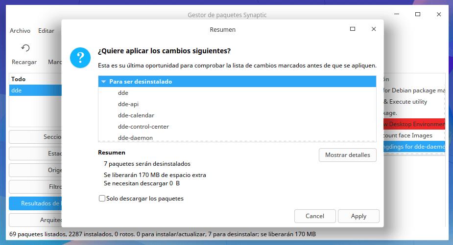 "Desinstalar ""dde"" en Synaptic"