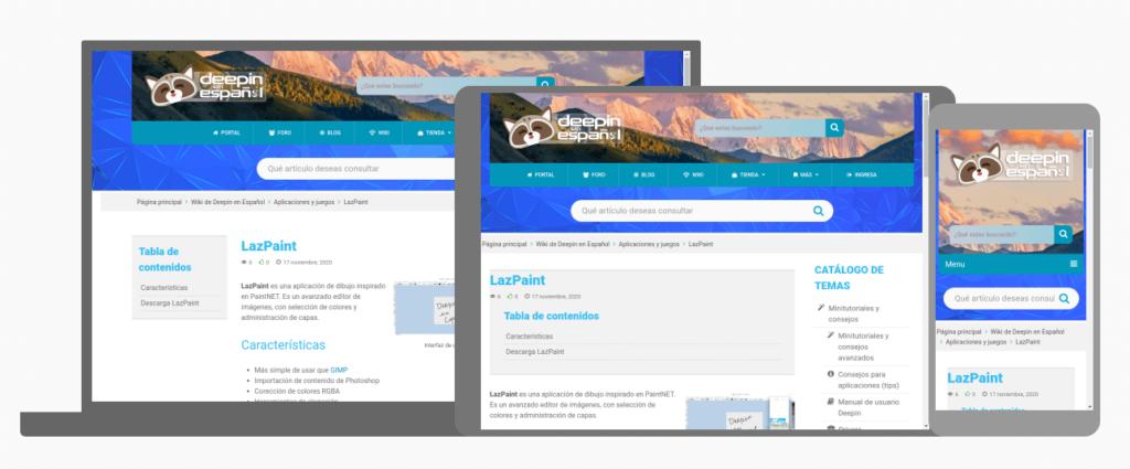 Vista de la wiki de Deepin en Español en dispositivos móviles y de escritorio.