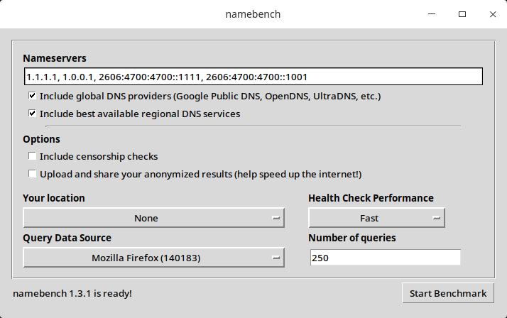 Namebench, programa para pruebas DNS