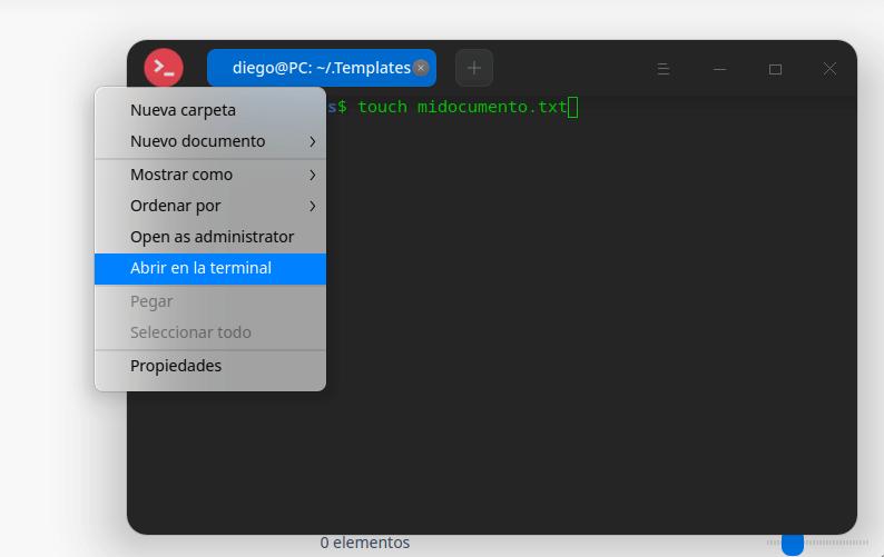 crear nuevo documento desde la terminal
