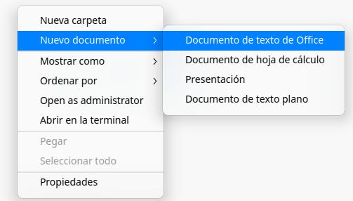 Crear nuevo documento desde el menú contextual