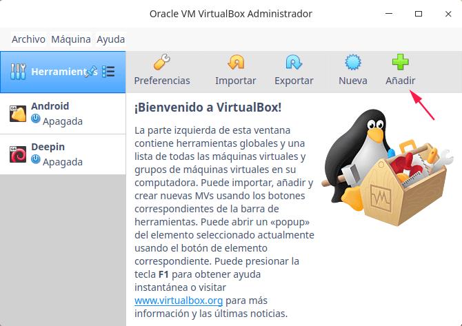 Opciones para nueva unidad en Virtualbox.