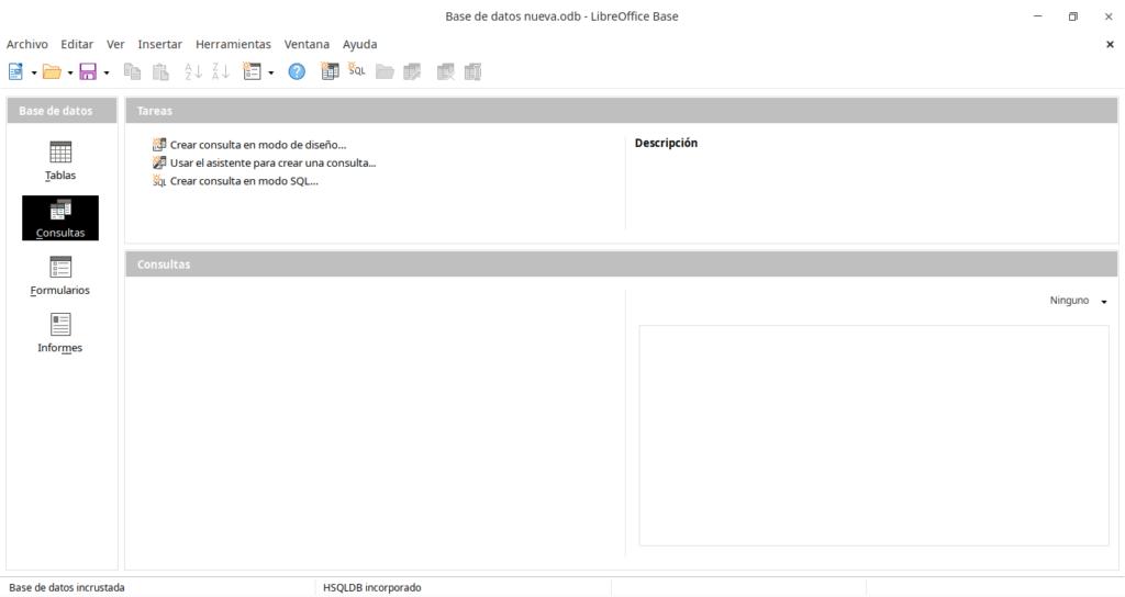 Interfaz de LibreOffice Base.