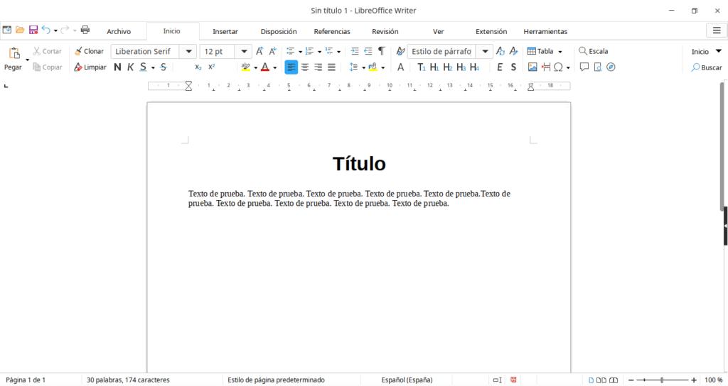 Interfaz de Writer con la disposición de pestañas.