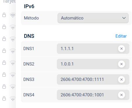 Ajustes de DNS en el centro de control