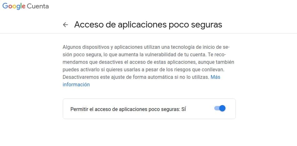 Permitir aplicaciones poco seguras