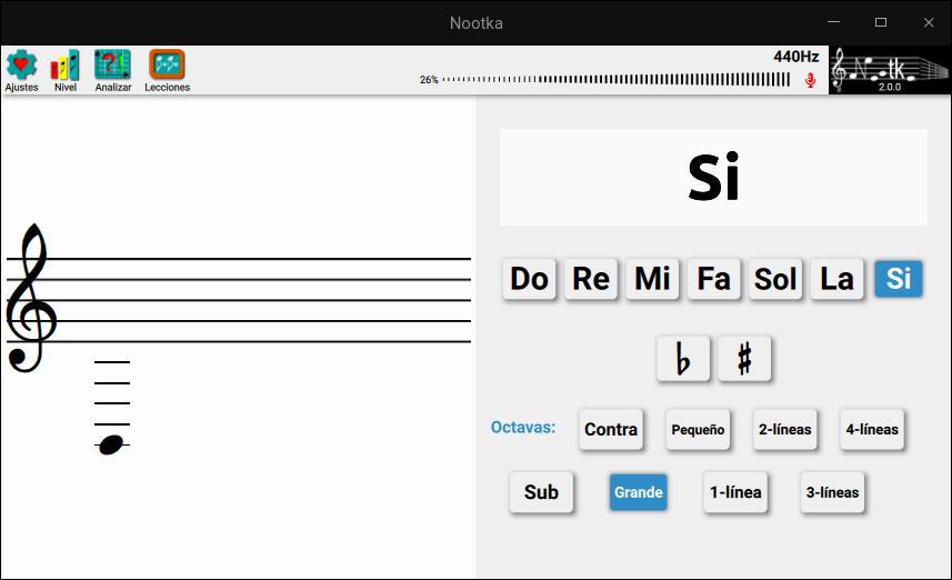 Captura de Nootka para aprender notación musical