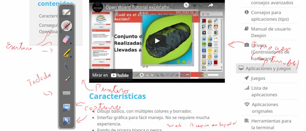 Ejemplo de OpenBoard en funcionamiento con la página web