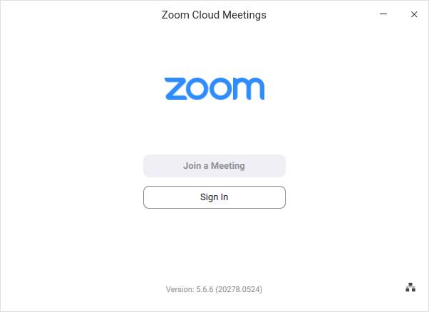 Interfaz inicial de Zoom