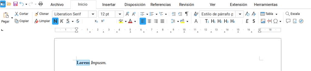 Formato al texto en Writer