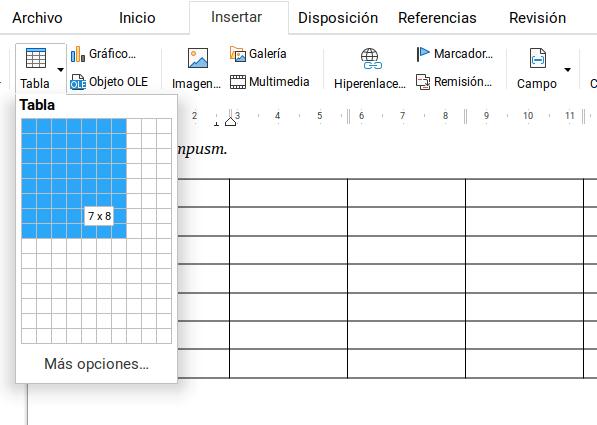 Añadir tablas en LibreOffice Writer
