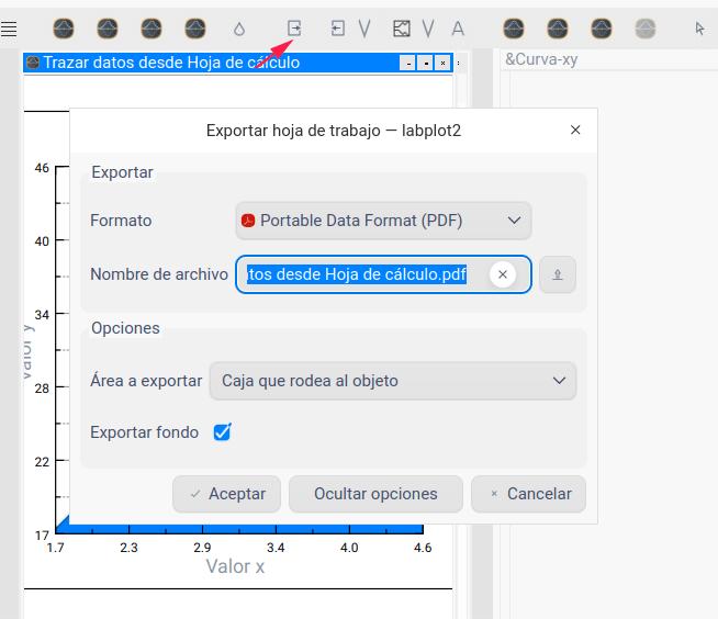 Exportar desde LabPlot
