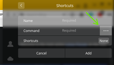 creating custom shortcut